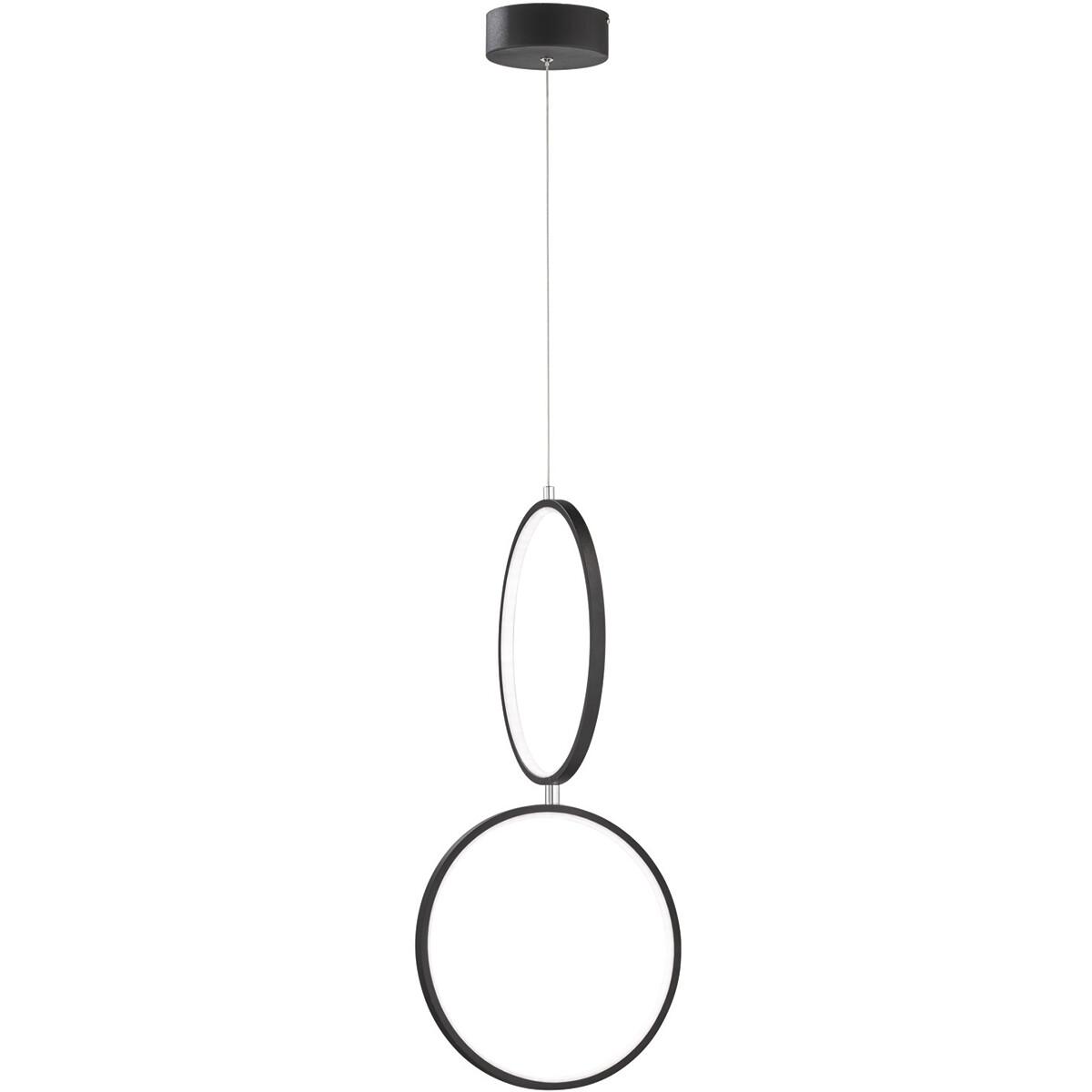 LED Hanglamp - Trion Rondy - 22W - Warm Wit 3000K - Rechthoek - Mat Zwart - Aluminium