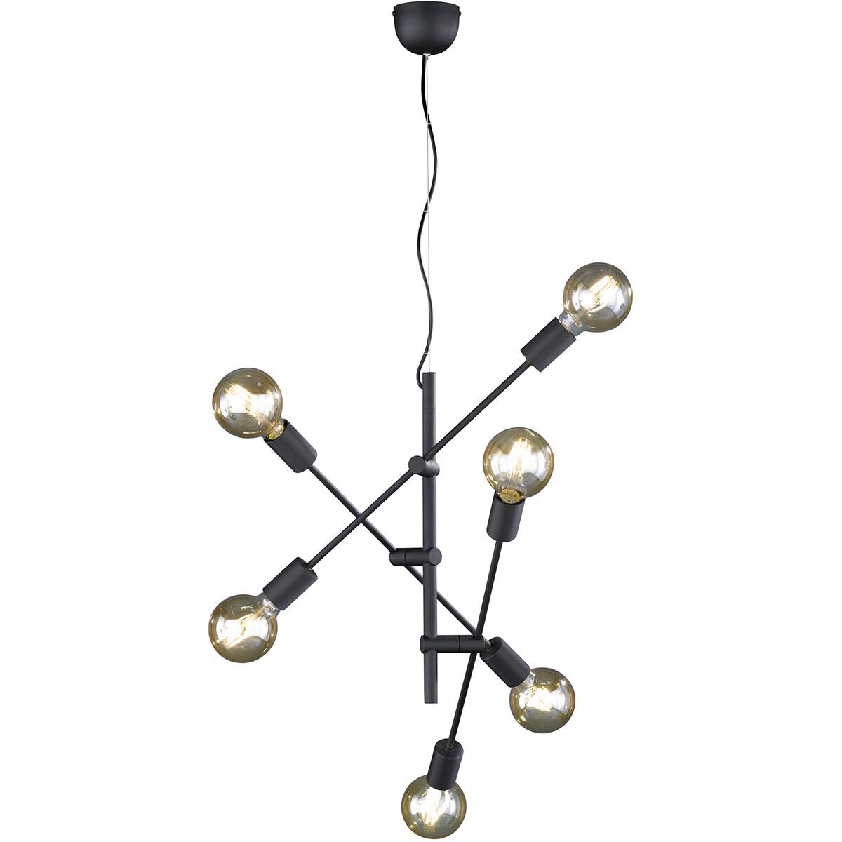 LED Hanglamp - Trion Ross - E27 Fitting - 6-lichts - Rond - Mat Zwart - Aluminium