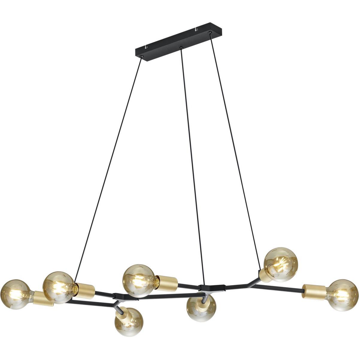 LED Hanglamp - Trion Ross - E27 Fitting - 7-lichts - Rechthoek - Mat Zwart - Aluminium