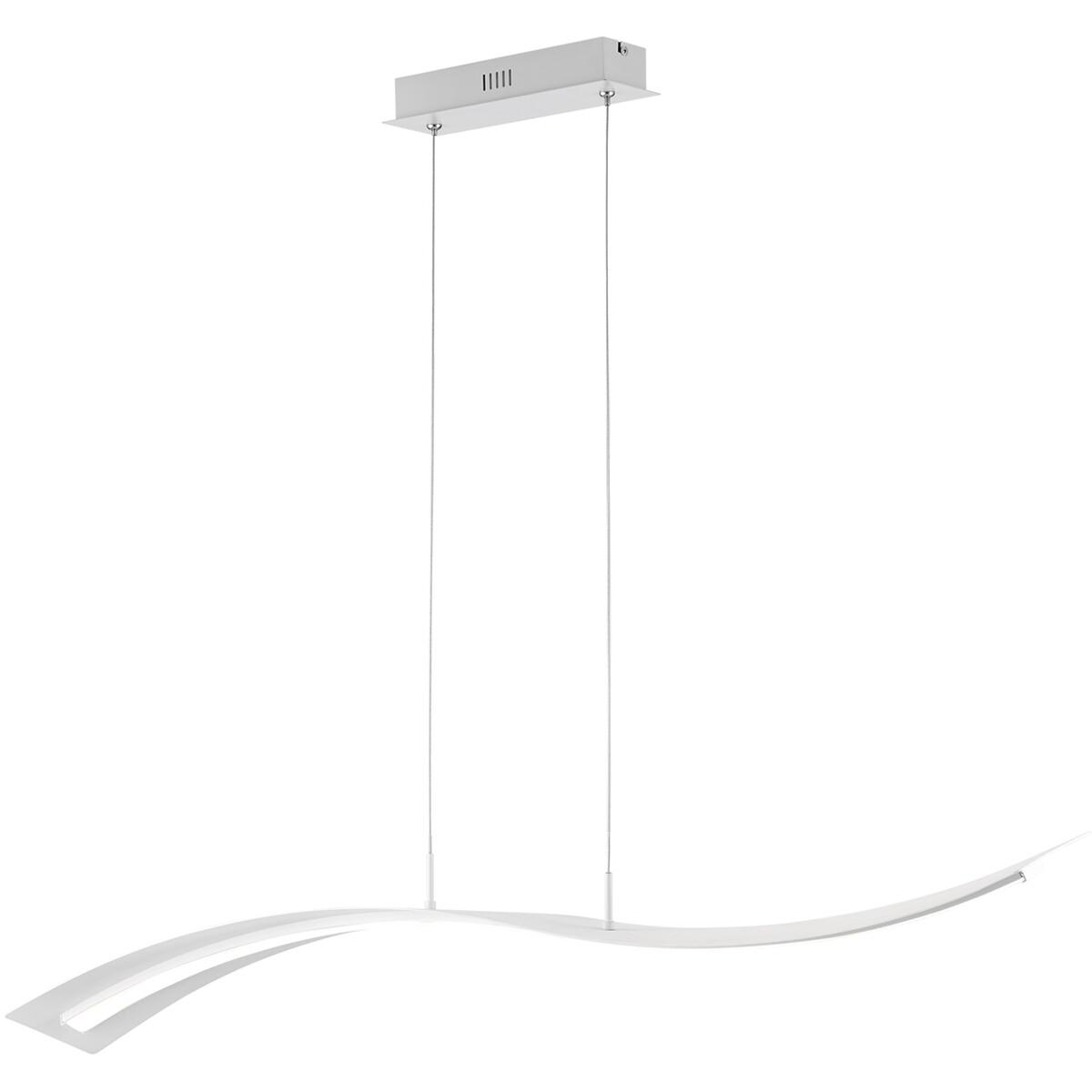 LED Hanglamp - Trion Salerna - 35W - Natuurlijk Wit 4000K - Rechthoek - Mat Wit - Aluminium