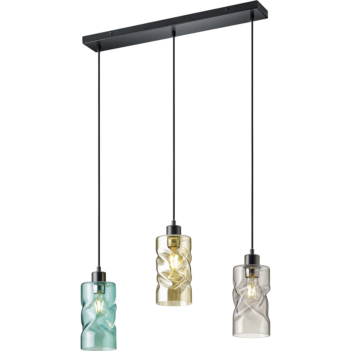 LED Hanglamp - Trion Swily - E27 Fitting - 3-lichts - Rechthoek - Mat Zwart - Aluminium