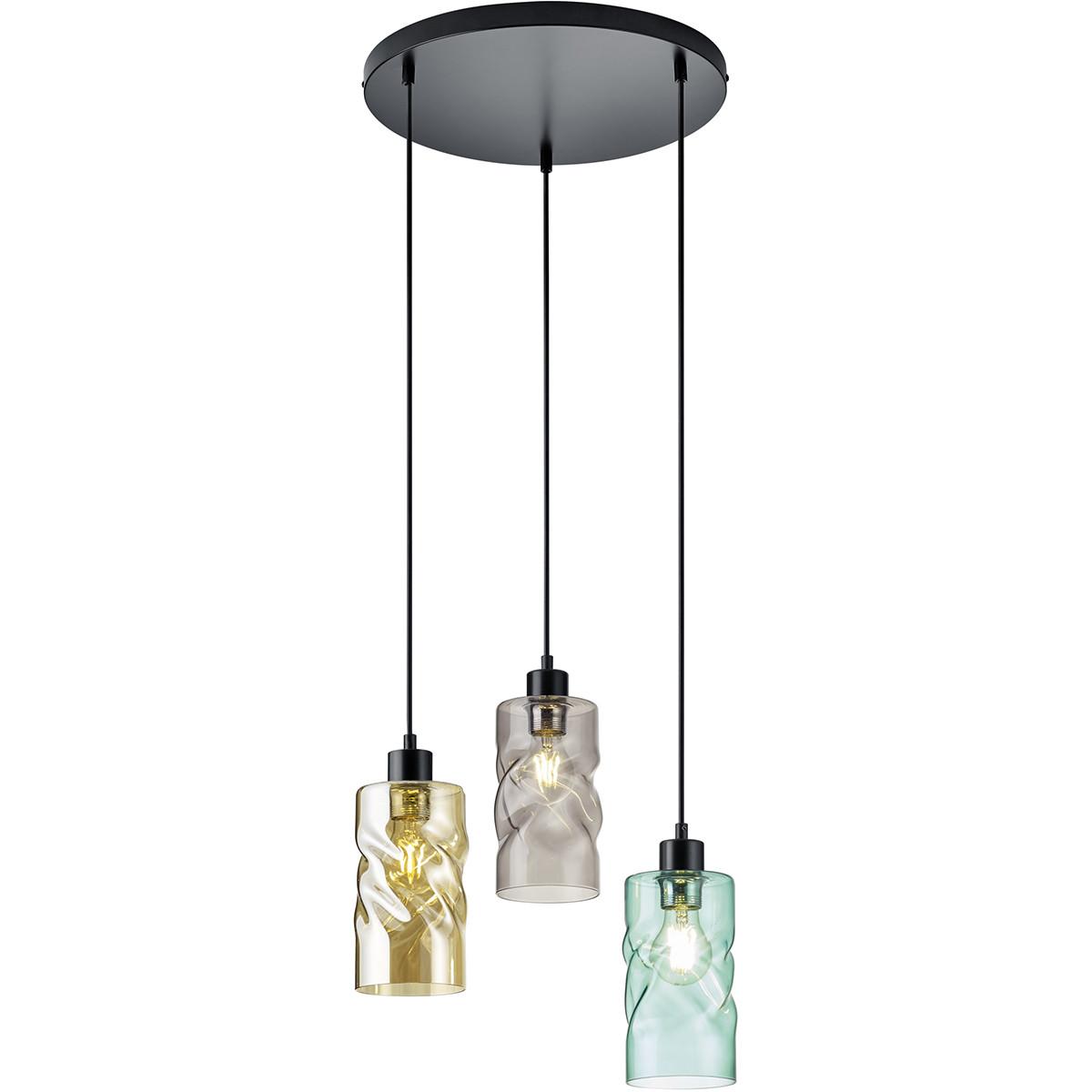 LED Hanglamp - Trion Swily - E27 Fitting - 3-lichts - Rond - Mat Zwart - Aluminium