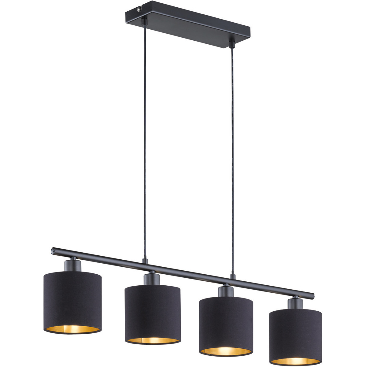 LED Hanglamp - Trion Torry - E14 Fitting - Rechthoek - Mat Zwart - Aluminium