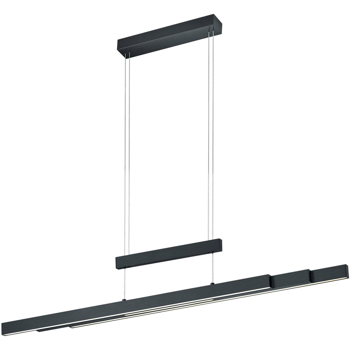 LED Hanglamp - Trion Trojan - 54W - Aanpasbare Kleur - Rechthoek - Mat Zwart - Aluminium