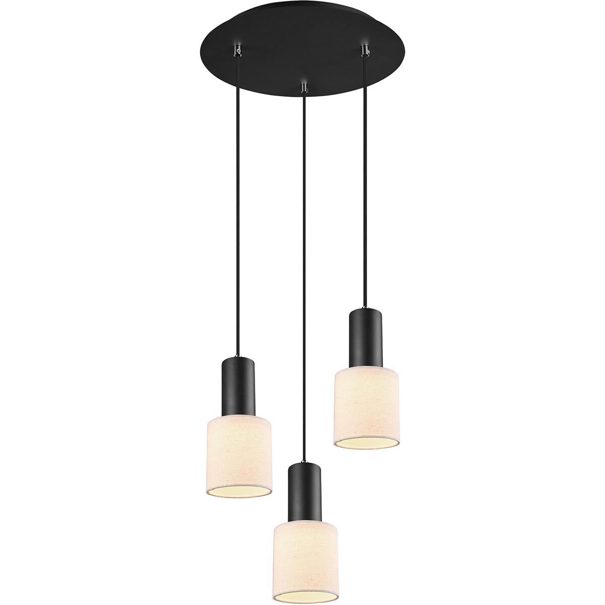 LED Hanglamp - Trion Waler - GU10 Fitting - 3-lichts - Rond - Mat Zwart - Aluminium