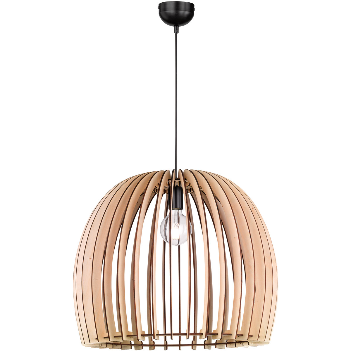 LED Hanglamp - Trion Wody XXL - E27 Fitting - Rond - Mat Lichtbruin Hout