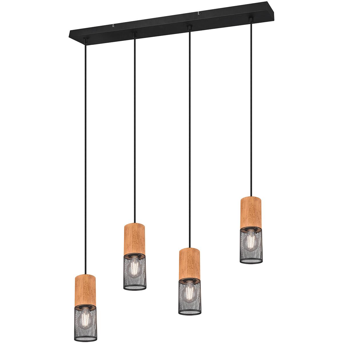 LED Hanglamp - Trion Yosh - E27 Fitting - 4-lichts - Rond - Mat Zwart - Aluminium
