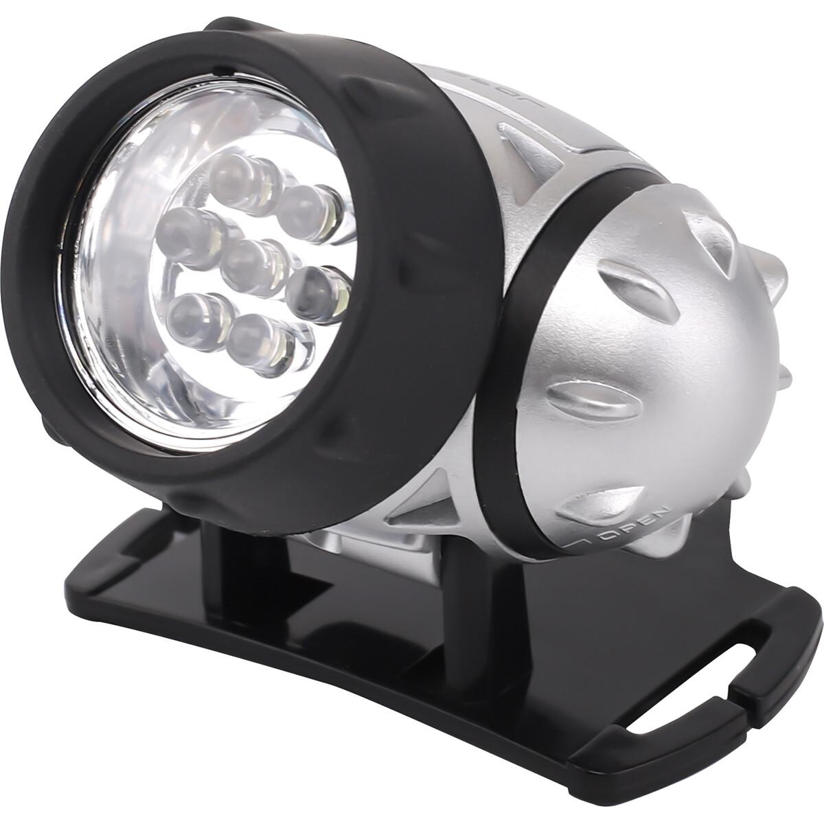 LED Hoofdlamp - Aigi Heady - Waterdicht - 20 Meter - Kantelbaar - 7 LED's - 0.54W - Zilver | Vervang