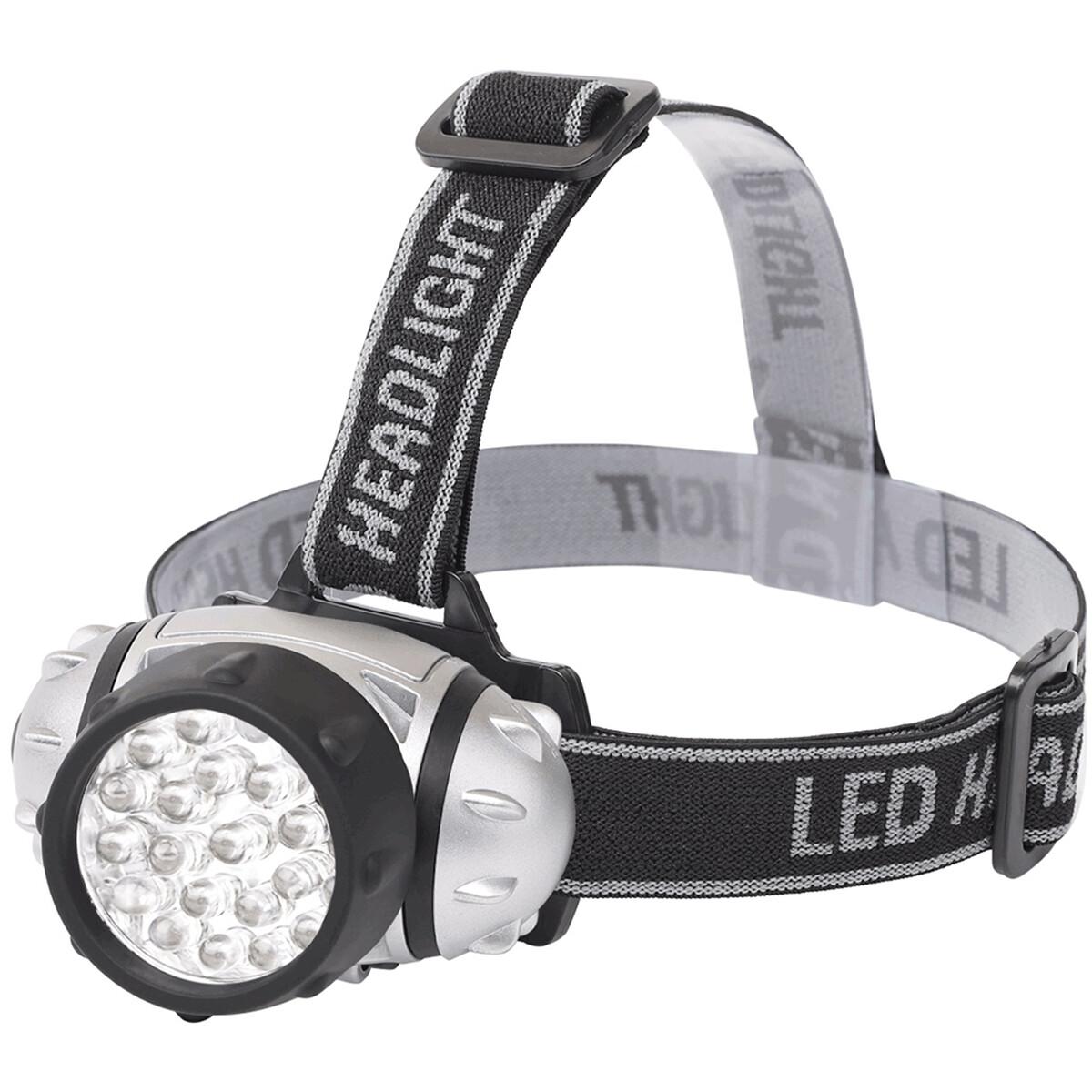 LED Hoofdlamp - Aigi Slico - Waterdicht - 50 Meter - Kantelbaar - 23 LED's - 1.1W - Zilver | Vervang
