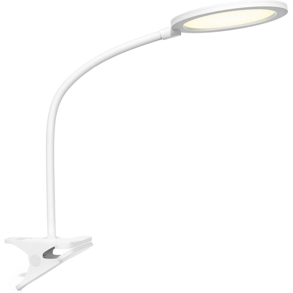 LED Klemlamp - Aigi Arona - 7W - Natuurlijk Wit 4000K - Rond - Mat Wit - Kunststof