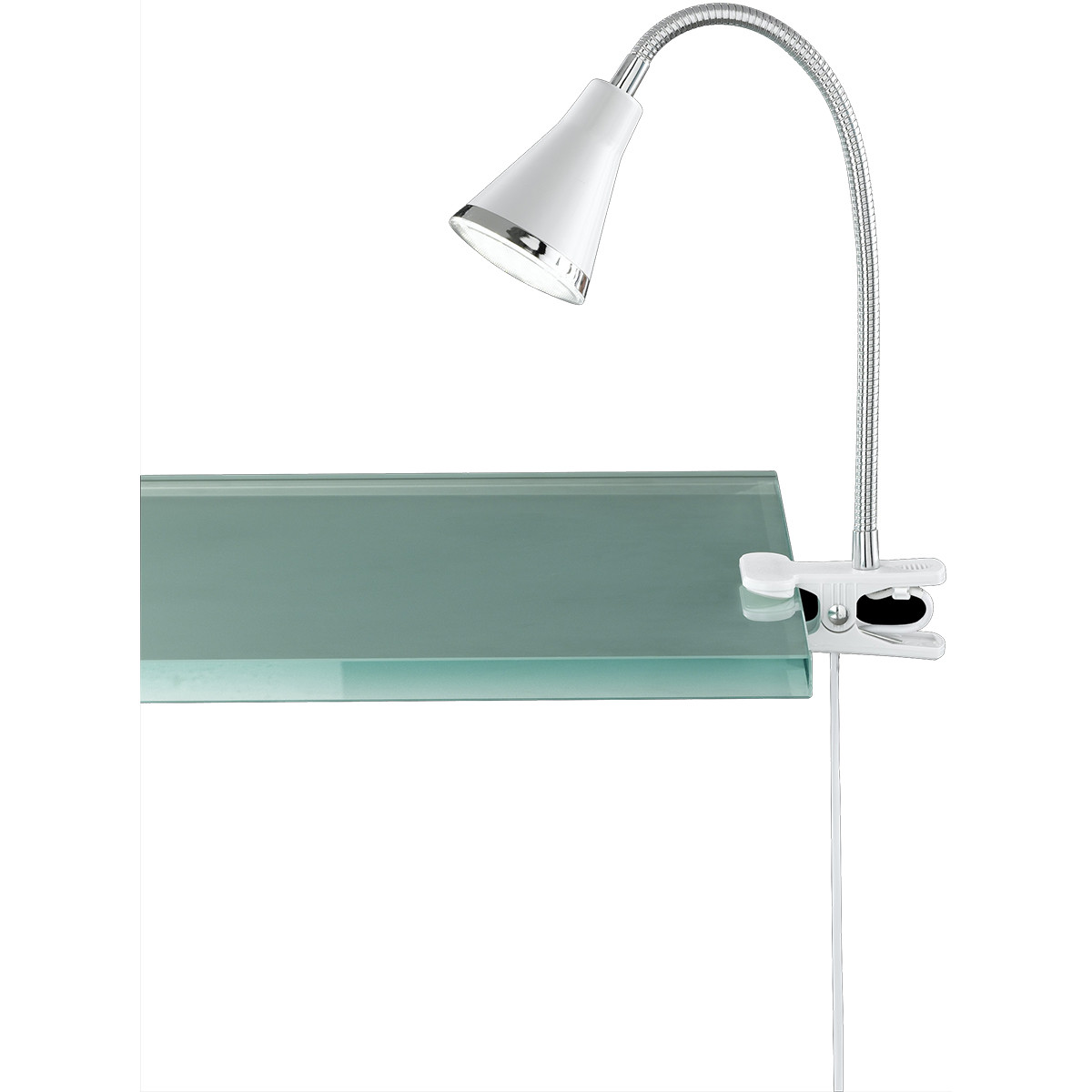 LED Klemlamp - Trion Arora - 3W - Warm Wit 3000K - Glans Wit - Kunststof
