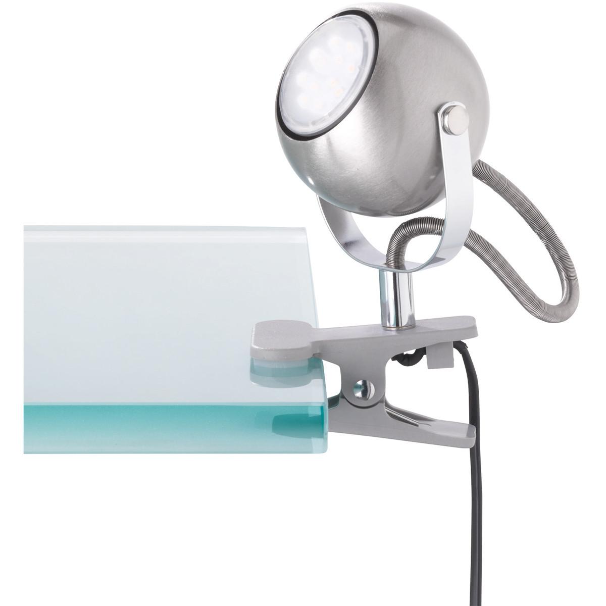 LED Klemlamp - Trion Bosty - GU10 Fitting - Mat Nikkel - Aluminium