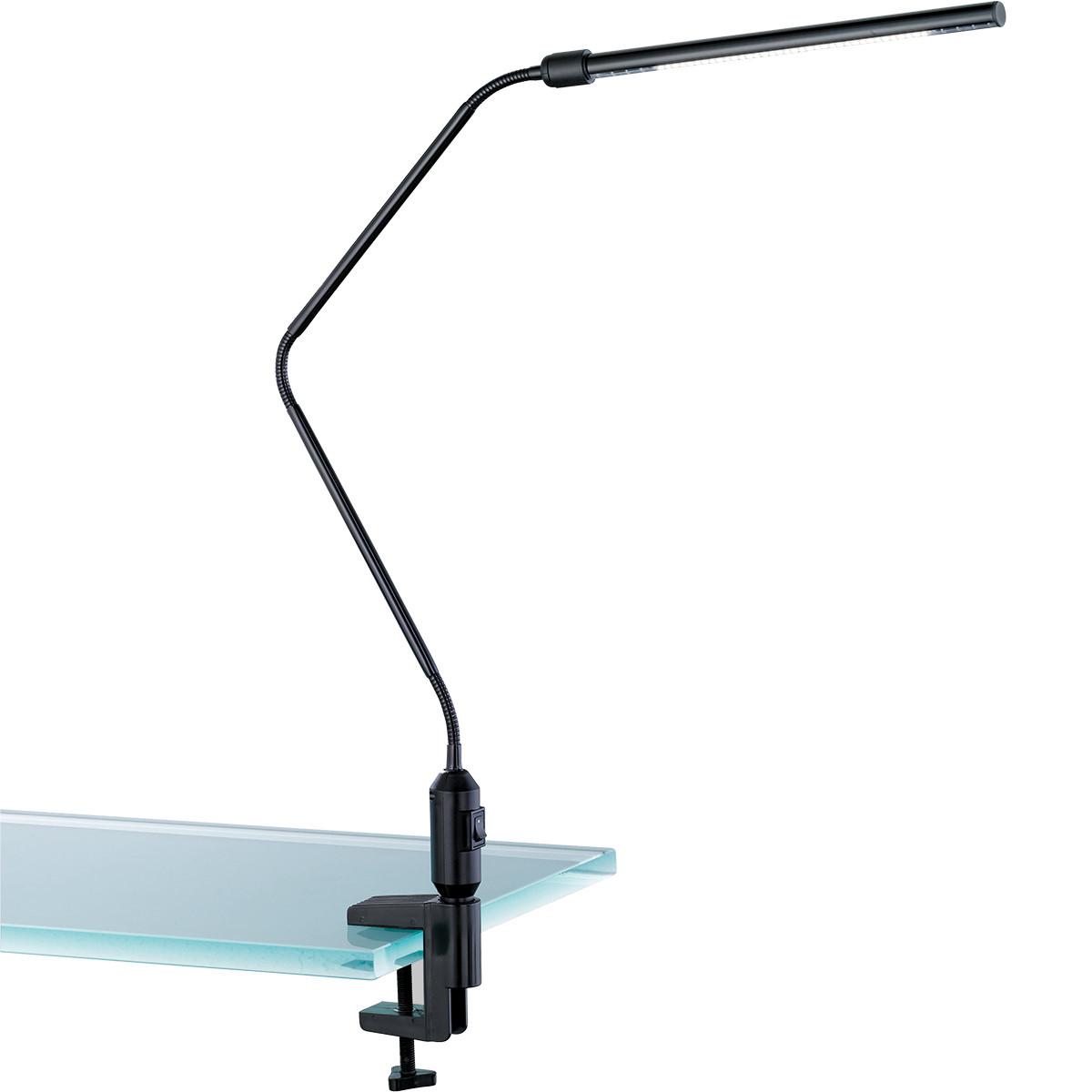 LED Klemlamp - Trion Vary - 3W - Warm Wit 3000K - Glans Zwart - Aluminium