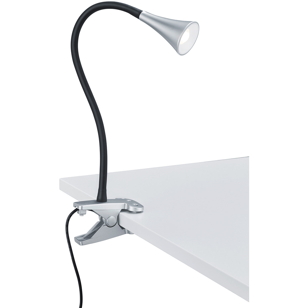 LED Klemlamp - Trion Vipa - 3W - Warm Wit 3000K - Glans Titaan - Kunststof