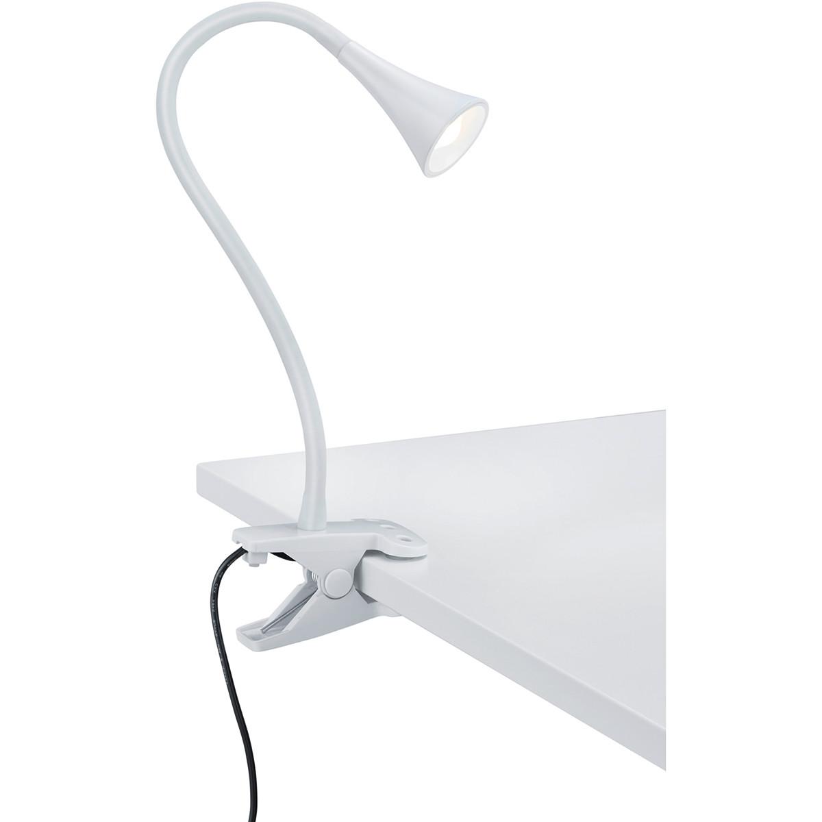 LED Klemlamp - Trion Vipa - 3W - Warm Wit 3000K - Glans Wit - Kunststof