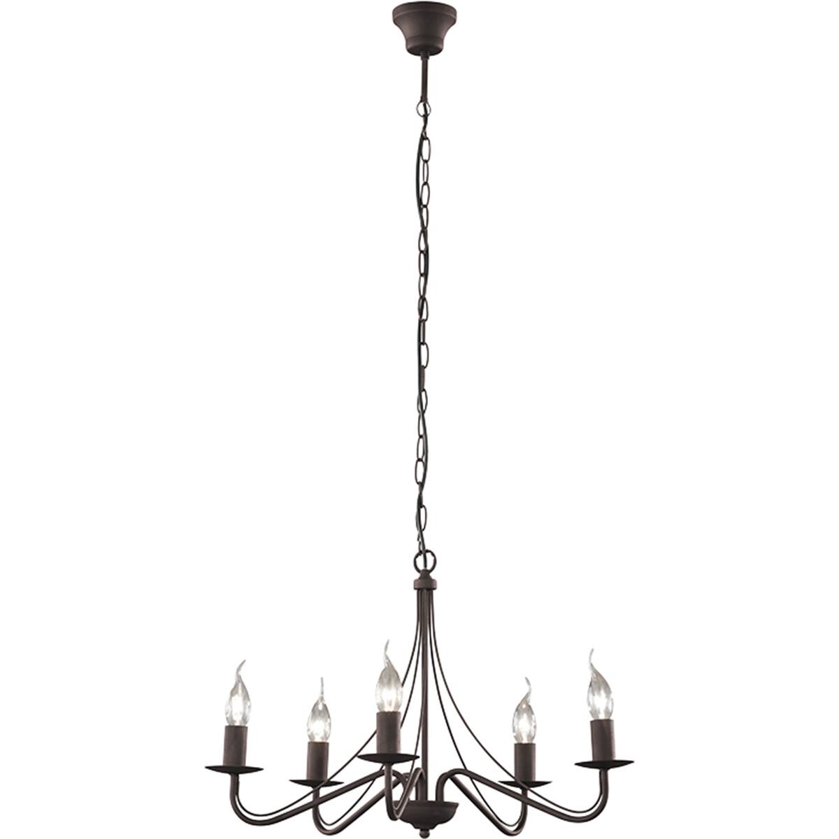 LED Kroonluchter - Trion Kantra - E14 Fitting - 5-lichts - Rond - Roestkleur - Aluminium