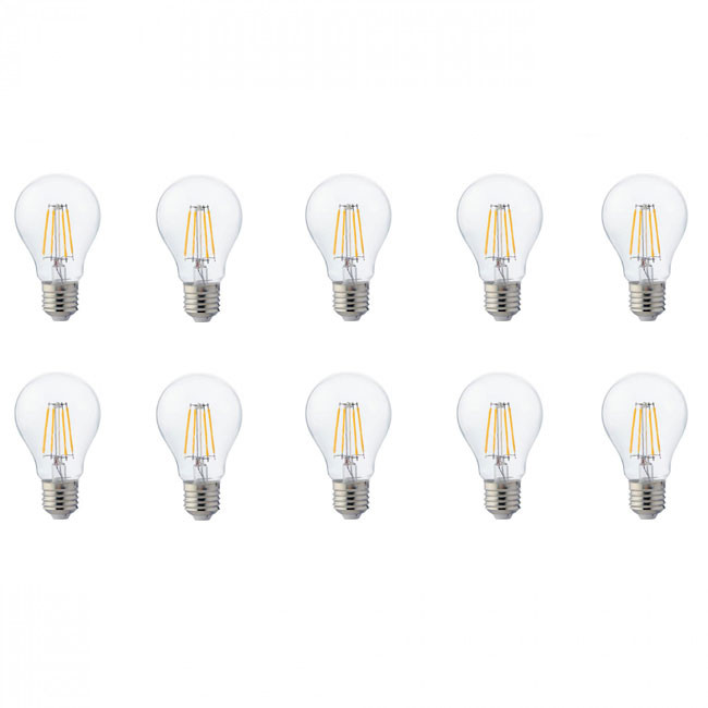 LED Lamp 10 Pack - Filament - E27 Fitting - 4W - Natuurlijk Wit 4200K