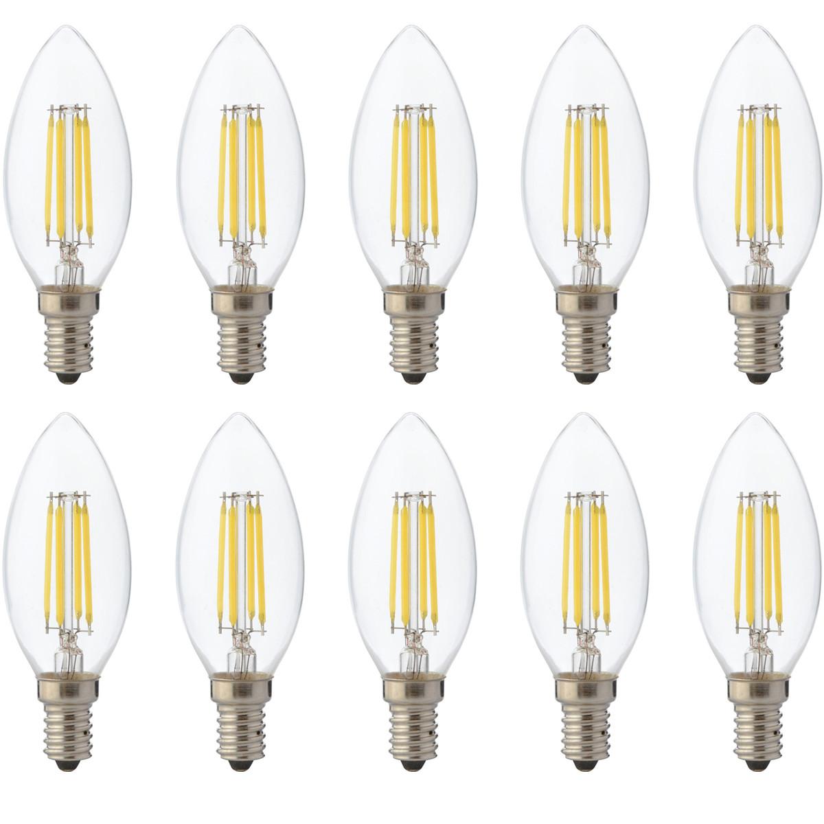 LED Lamp 10 Pack - Kaarslamp - Filament - E14 Fitting - 4W Dimbaar - Warm Wit 2700K