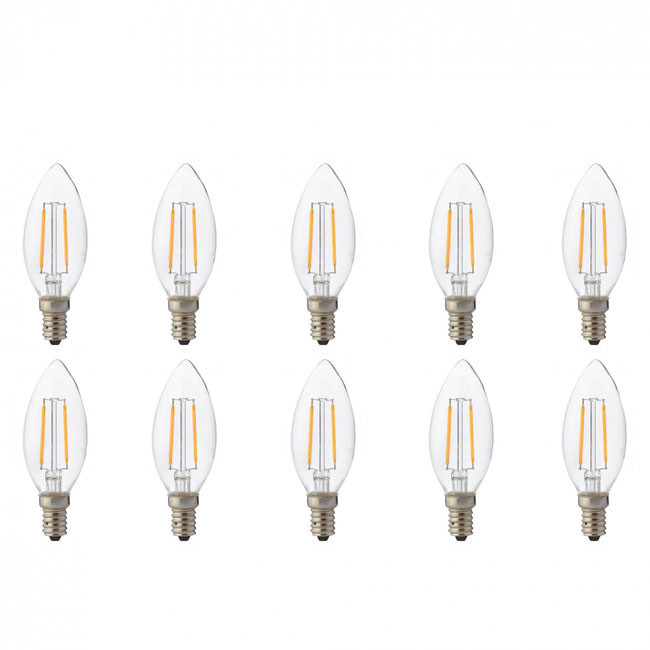 LED Lamp 10 Pack - Kaarslamp - Filament - E14 Fitting - 4W - Natuurlijk Wit 4200K