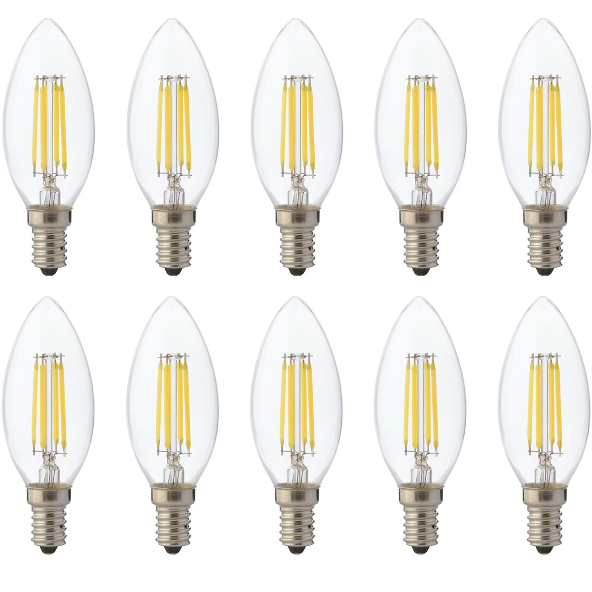 LED Lamp 10 Pack - Kaarslamp - Filament - E14 Fitting - 6W Dimbaar - Warm Wit 2700K