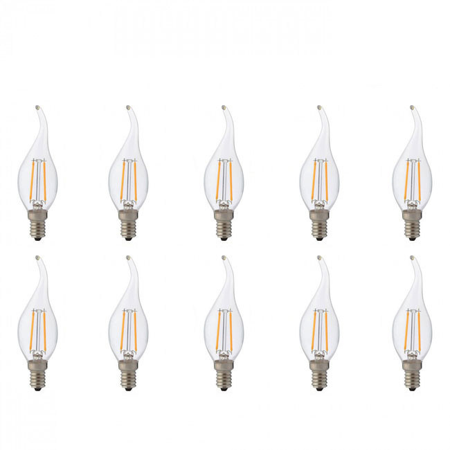LED Lamp 10 Pack - Kaarslamp - Filament Flame - E14 Fitting - 4W - Natuurlijk Wit 4200K