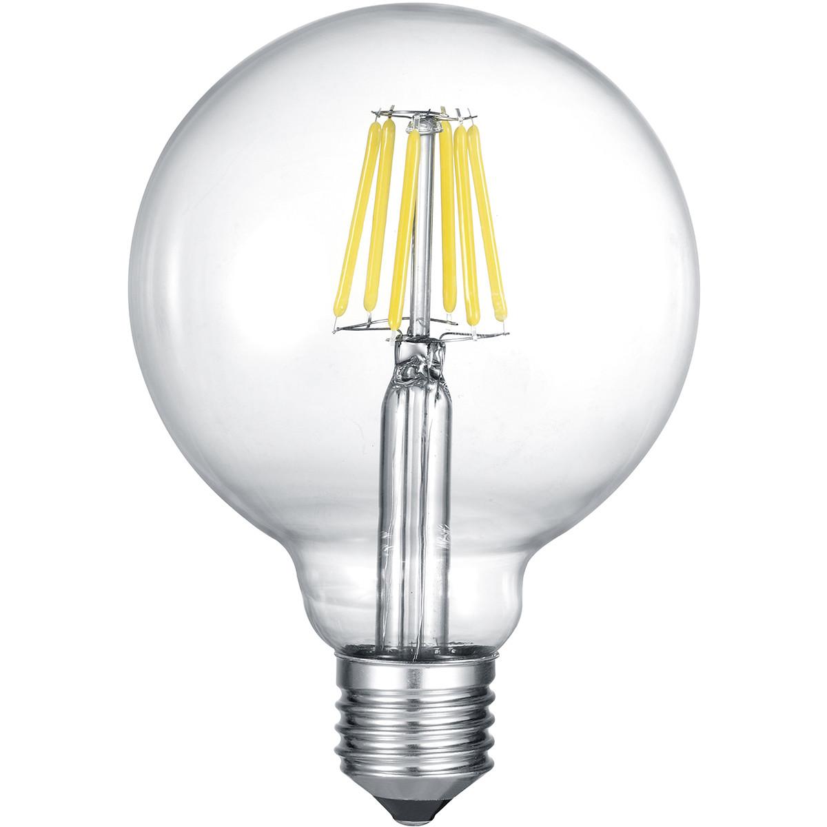 LED Lamp - Filament - Trion Globin XL - E27 Fitting - 8W - Warm Wit 2700K - Transparent Helder - Gla