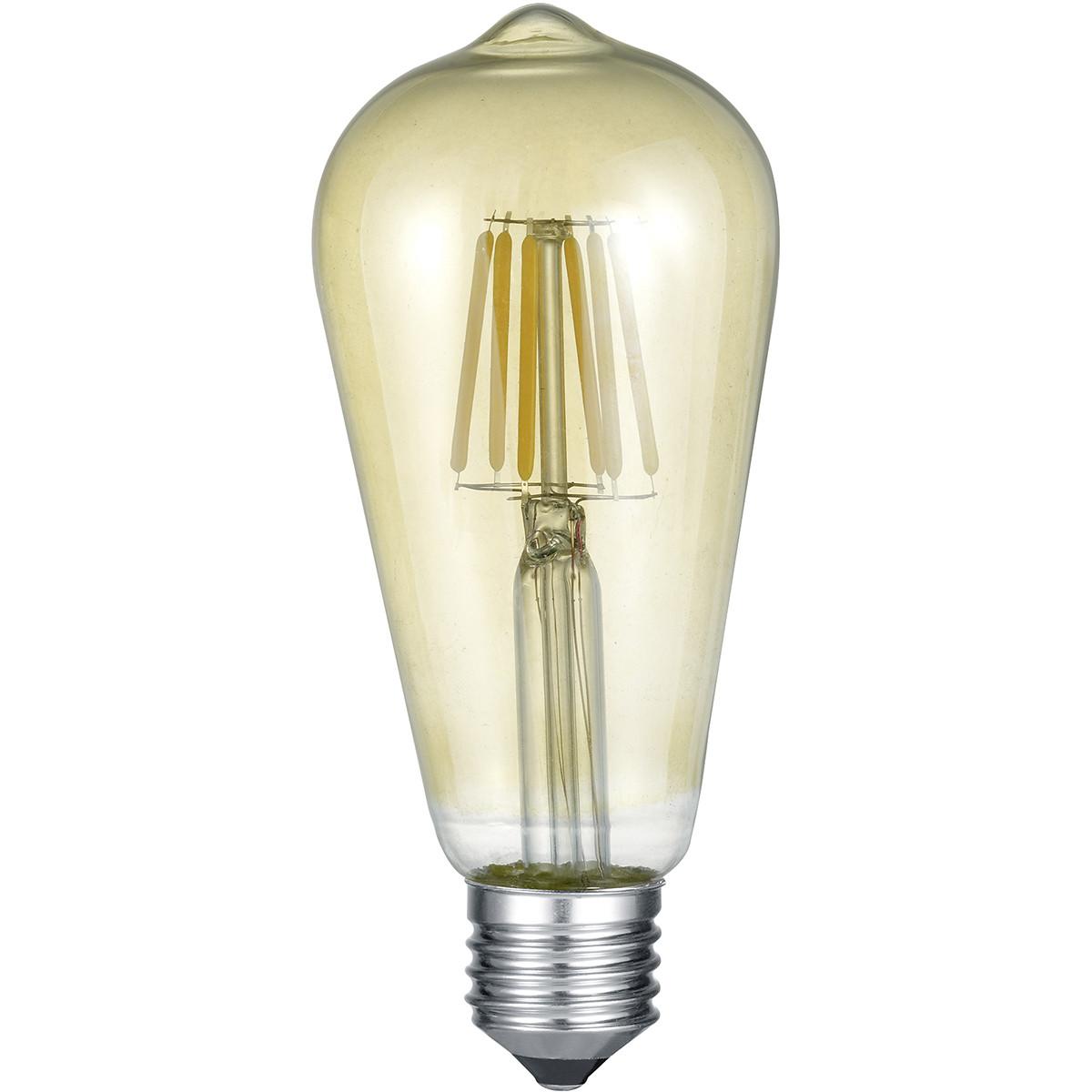 LED Lamp - Filament - Trion Kalon - E27 Fitting - 6W - Warm Wit 2700K - Amber - Aluminium
