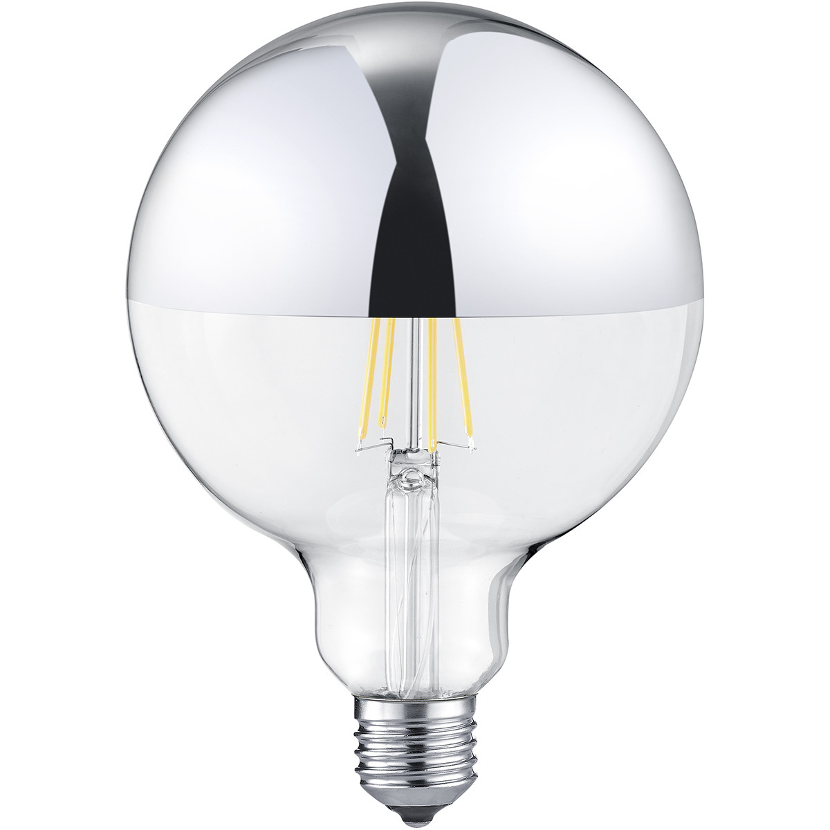 LED Lamp - Filament - Trion Limpo XL - E27 Fitting - 7W - Warm Wit 2700K - Glans Chroom - Glas