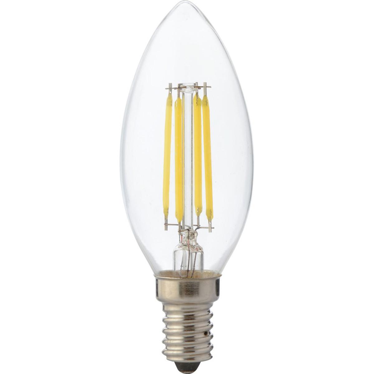 LED Lamp - Kaarslamp - Filament - E14 Fitting - 4W Dimbaar - Warm Wit 2700K