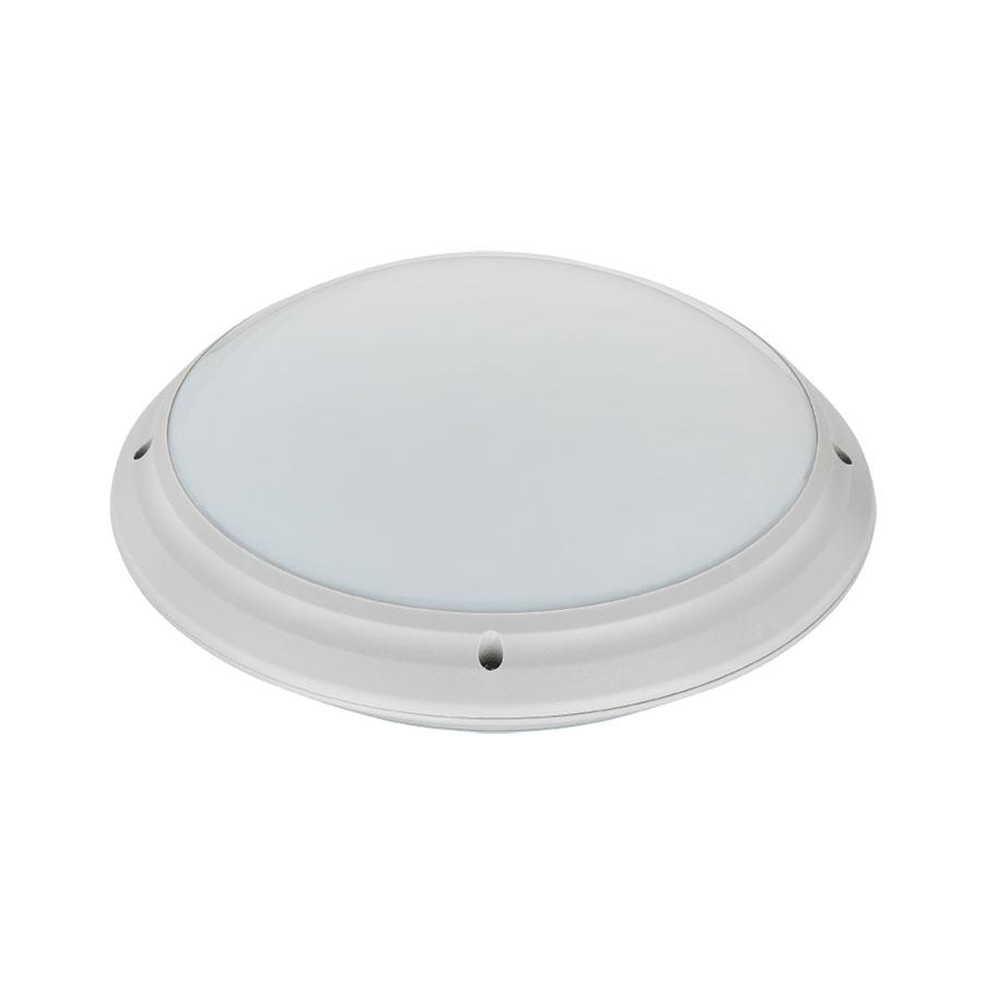 LED Plafondlamp - Opbouw Rond - Waterdicht IP65 - E27 - Mat Zilver Kunststof - Ø275mm