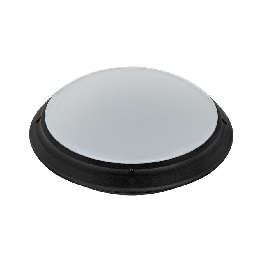 LED Plafondlamp - Opbouw Rond - Waterdicht IP65 - E27 - Mat Zwart Kunststof - Ø275mm