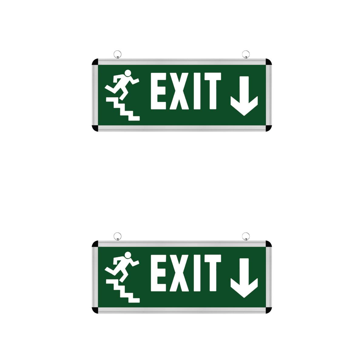 LED Noodverlichting Exit - 2 Pack - Rabonta Omlaag - Hangend - 3W