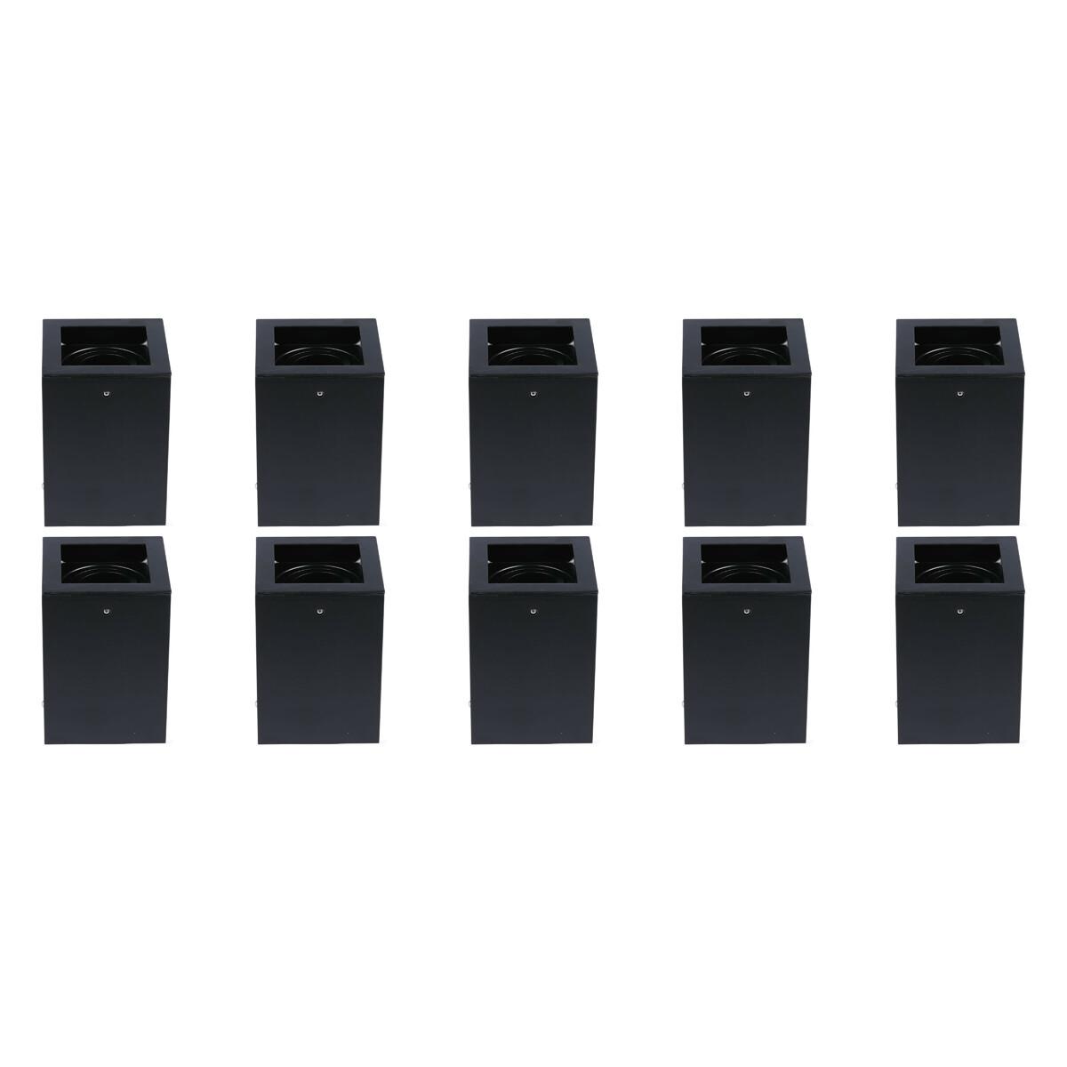 LED Opbouwspot 10 Pack - Plafondspot - Viron Halo - GU10 Fitting - Vierkant - Mat Zwart - Aluminium