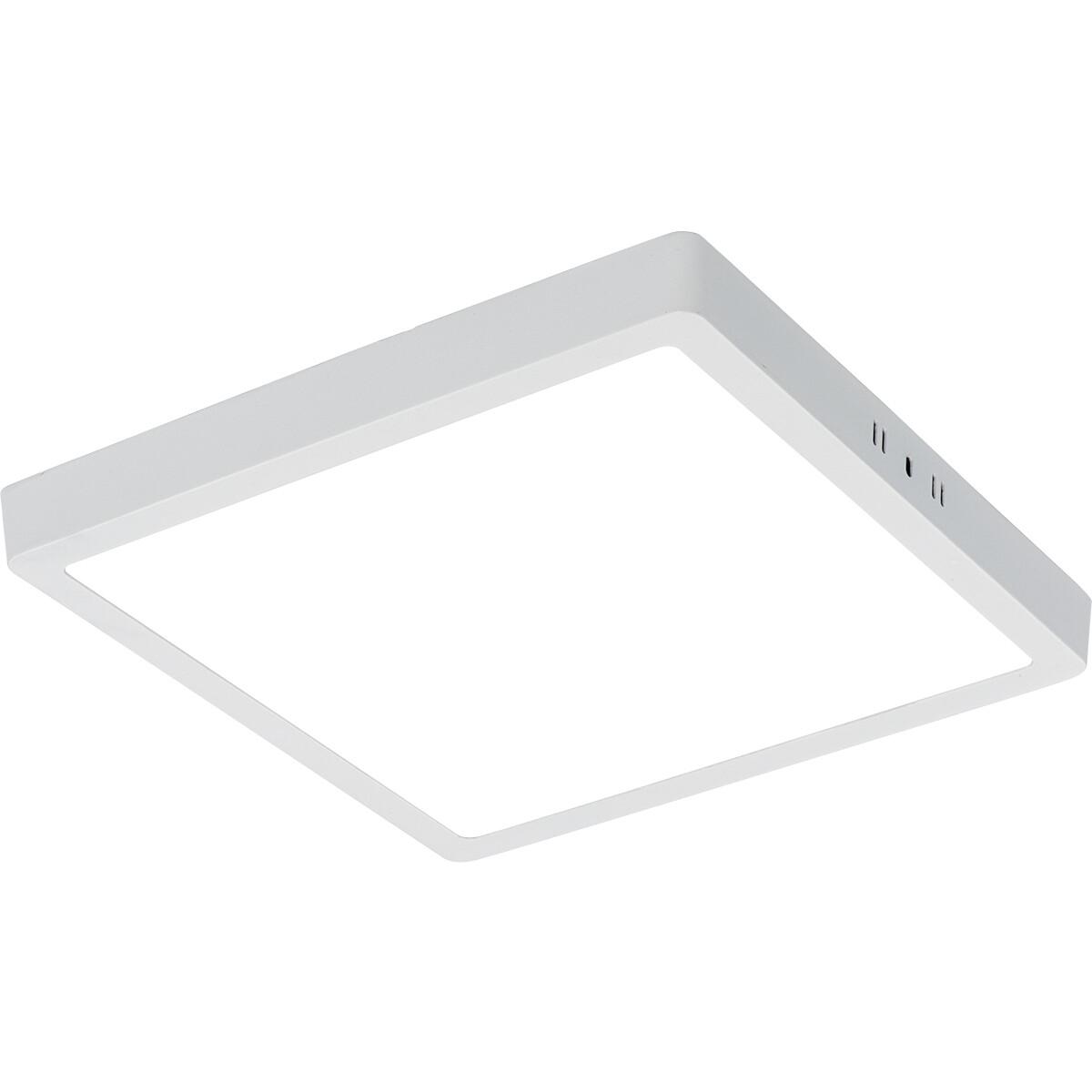 LED Paneel - 30x30 Helder/Koud Wit 6400K - 28W Opbouw Vierkant - Mat Wit - Flikkervrij
