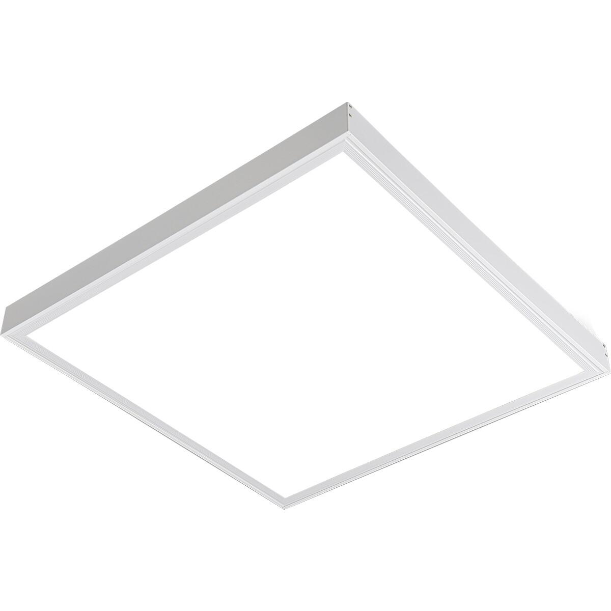 LED Paneel - Aigi Clena - 60x60 Helder/Koud Wit 6000K - 40W Opbouw Vierkant - Mat Wit - Flikkervrij