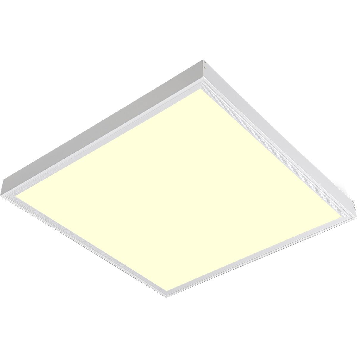 LED Paneel - Aigi Clena - 60x60 Warm Wit 3000K - 40W Opbouw Vierkant - Mat Wit - Flikkervrij