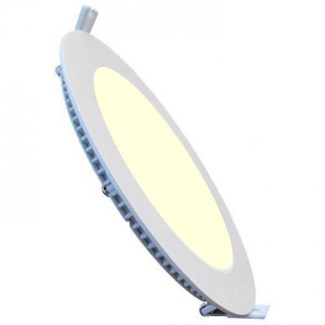 LED Downlight Slim - Inbouw Rond 15W - Warm Wit 2700K - Mat Wit Aluminium - Ø195mm