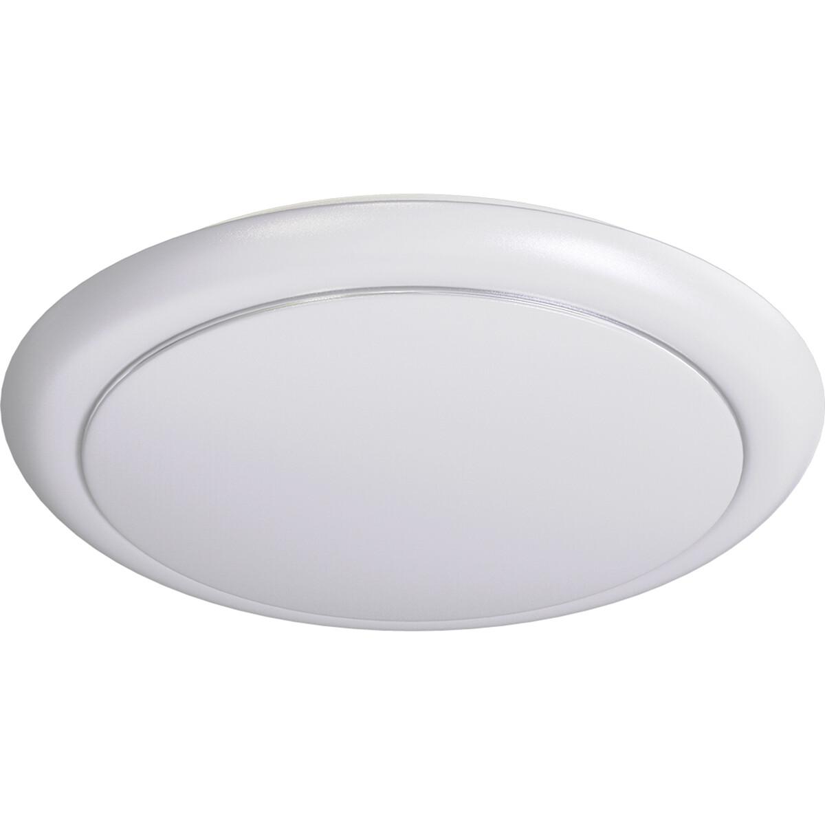 LED Plafondlamp - Aigi Ala - Opbouw Rond 24W - Helder/Koud Wit 6500K - Mat Wit - Aluminium
