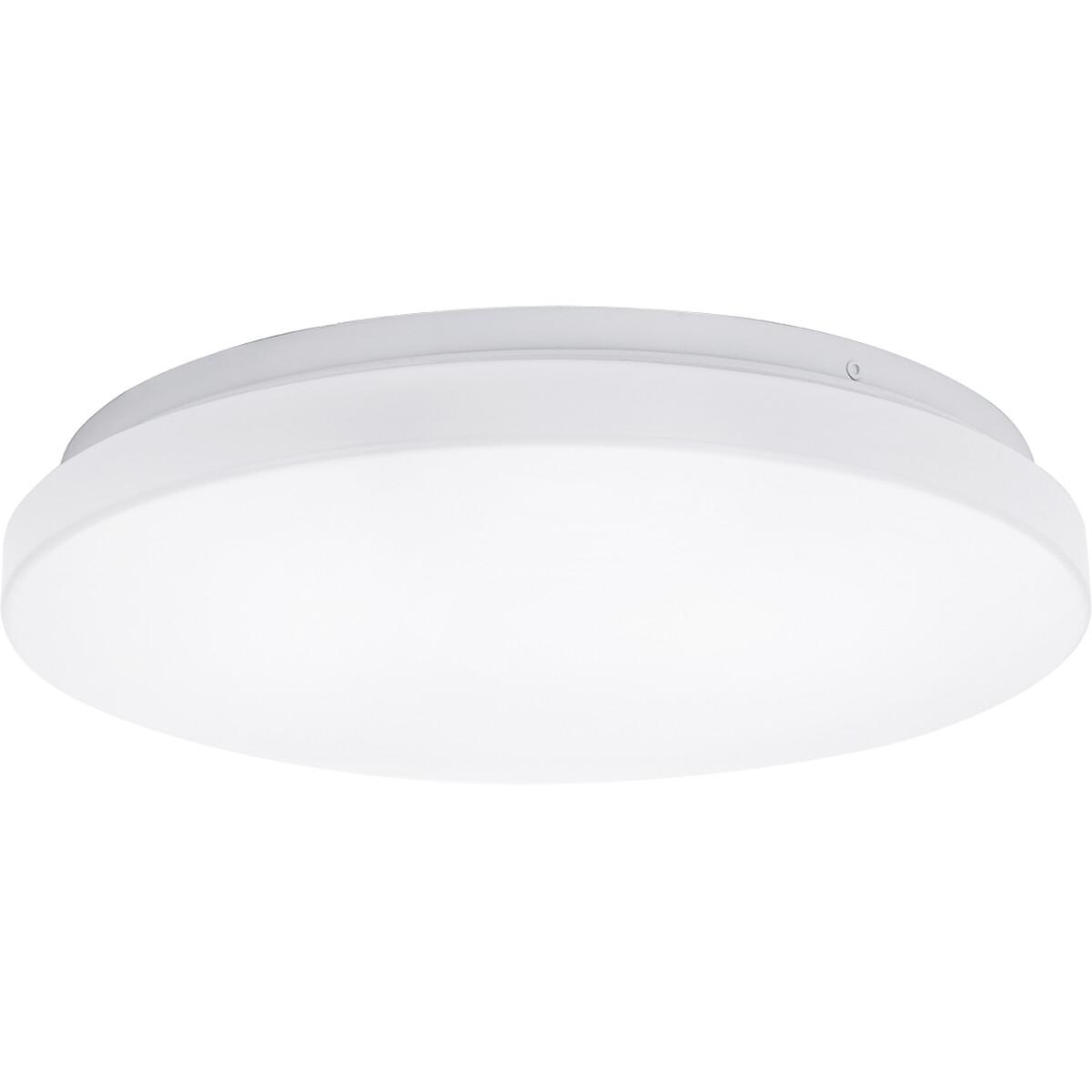 LED Plafondlamp - Aigi Alona - Opbouw Rond - 12W - Helder/Koud Wit 6500K - Mat Wit - Kunststof