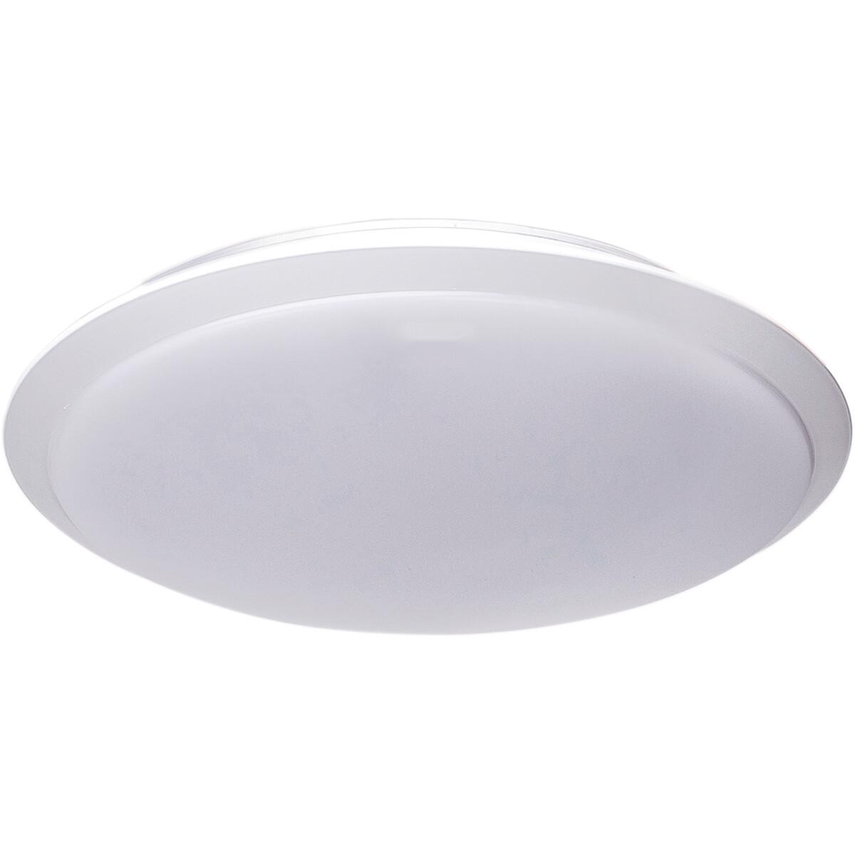 LED Plafondlamp - Aigi Ashly - Opbouw Rond 18W - Warm Wit 3000K - Mat Wit - Aluminium
