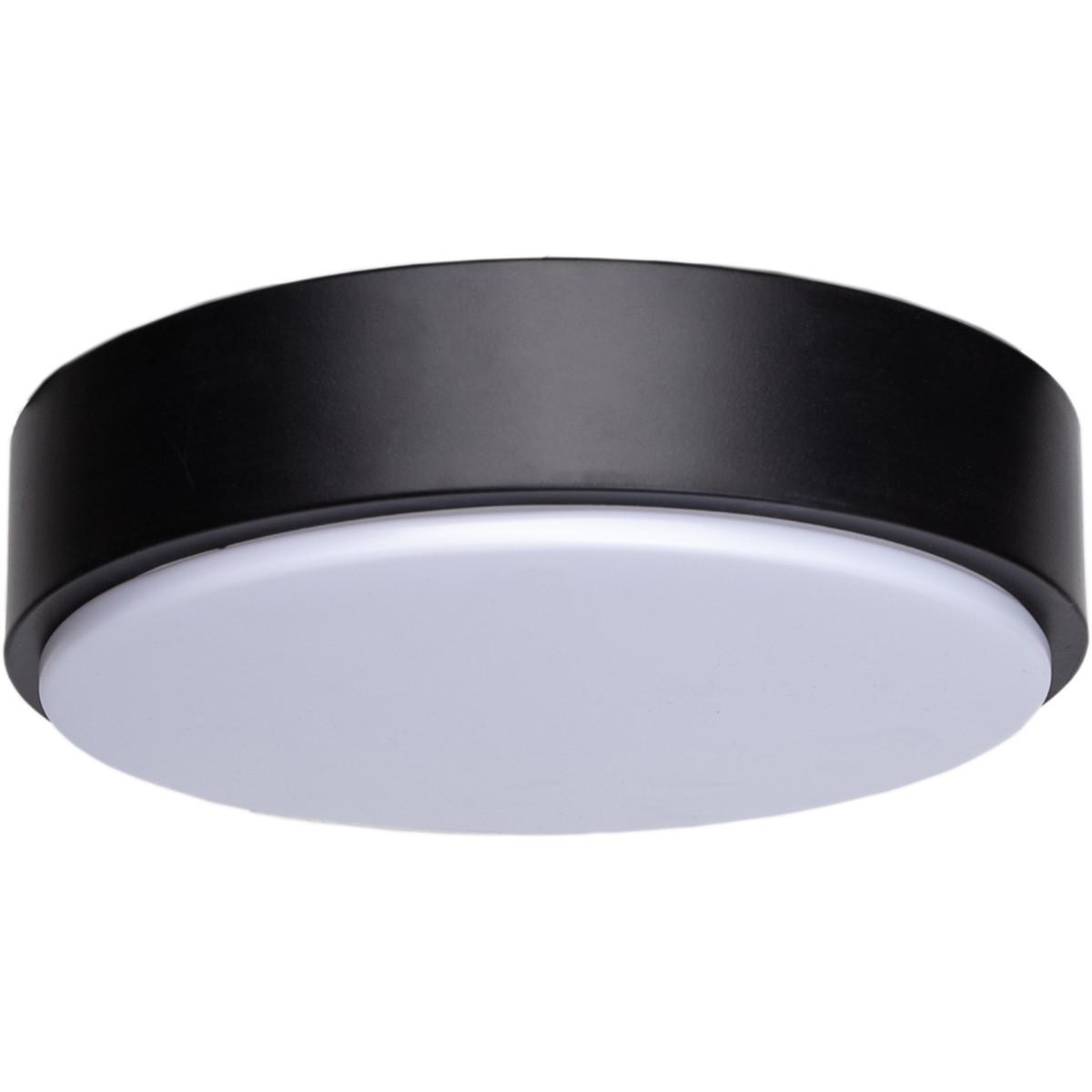 LED Plafondlamp - Aigi Santi - Opbouw Rond 12W - Helder/Koud Wit 6500K - Mat Zwart Aluminium