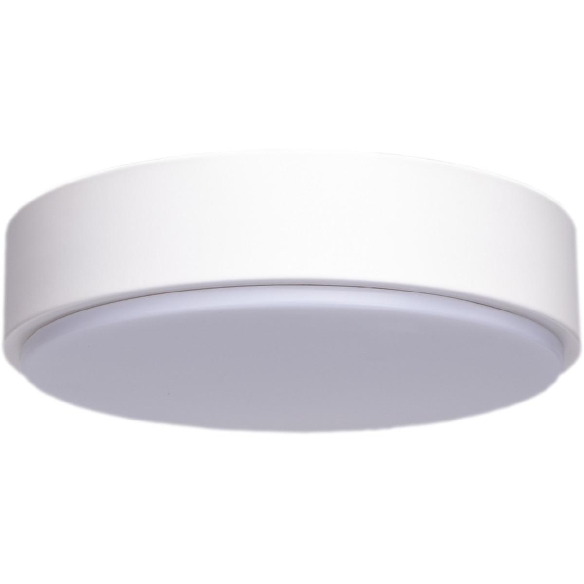 LED Plafondlamp - Aigi Santi - Opbouw Rond 12W - Warm Wit 3000K - Mat Wit Aluminium