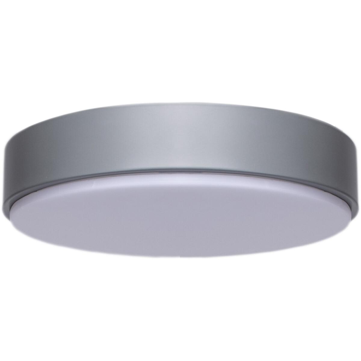 LED Plafondlamp - Aigi Santi - Opbouw Rond 20W - Natuurlijk Wit 4000K - Mat Grijs - Aluminium