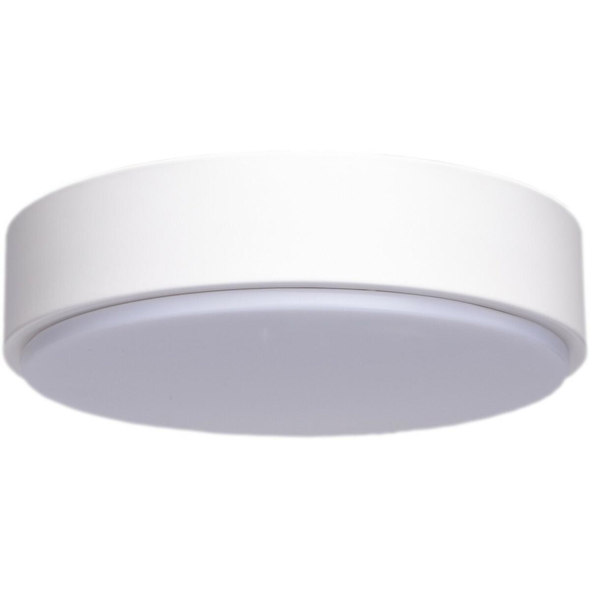 LED Plafondlamp - Aigi Santi - Opbouw Rond 24W - Warm Wit 3000K - Mat Wit - Aluminium