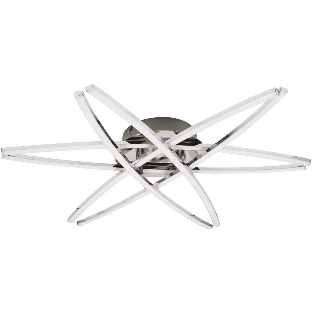 LED Plafondlamp - Plafondverlichting - Akalon - 35W - Natuurlijk Wit 4000K - Mat Chroom - Aluminium