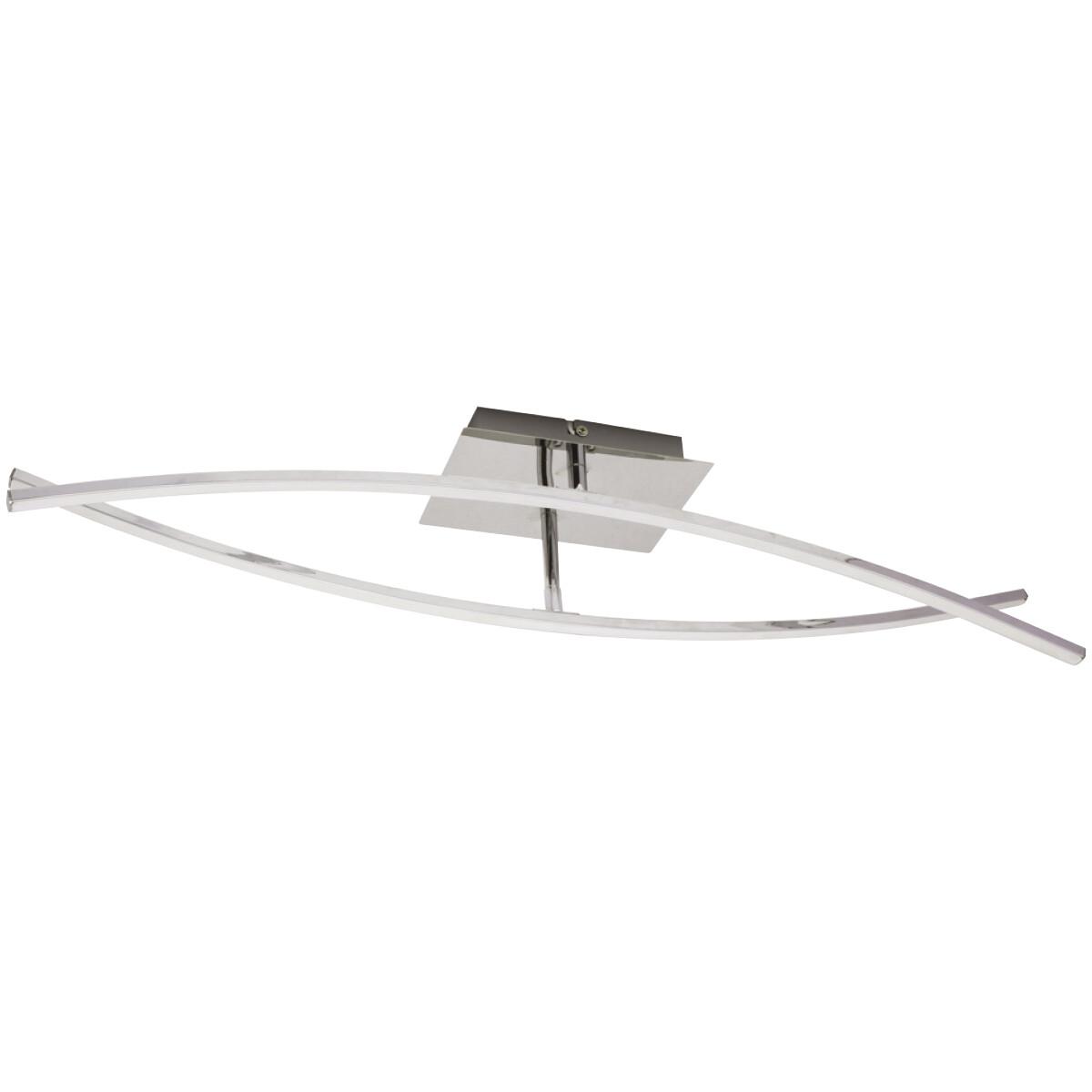LED Plafondlamp - Plafondverlichting - Onamo - 16W - Natuurlijk Wit 4000K - Mat Chroom - Aluminium