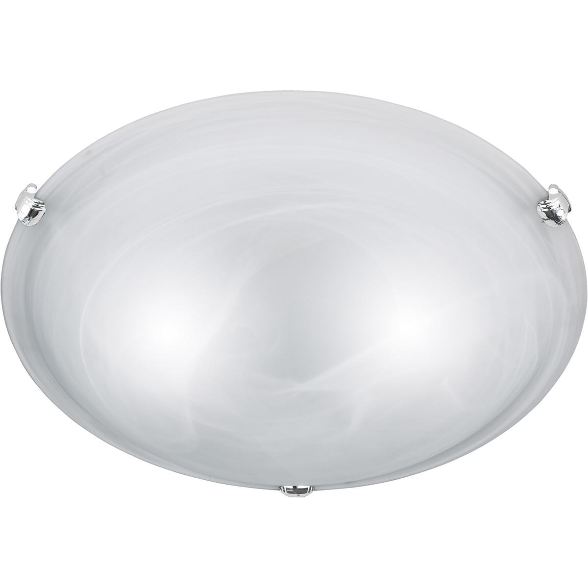 LED Plafondlamp - Plafondverlichting - Trion Adirona XL - E27 Fitting - Rond - Mat Nikkel - Aluminiu