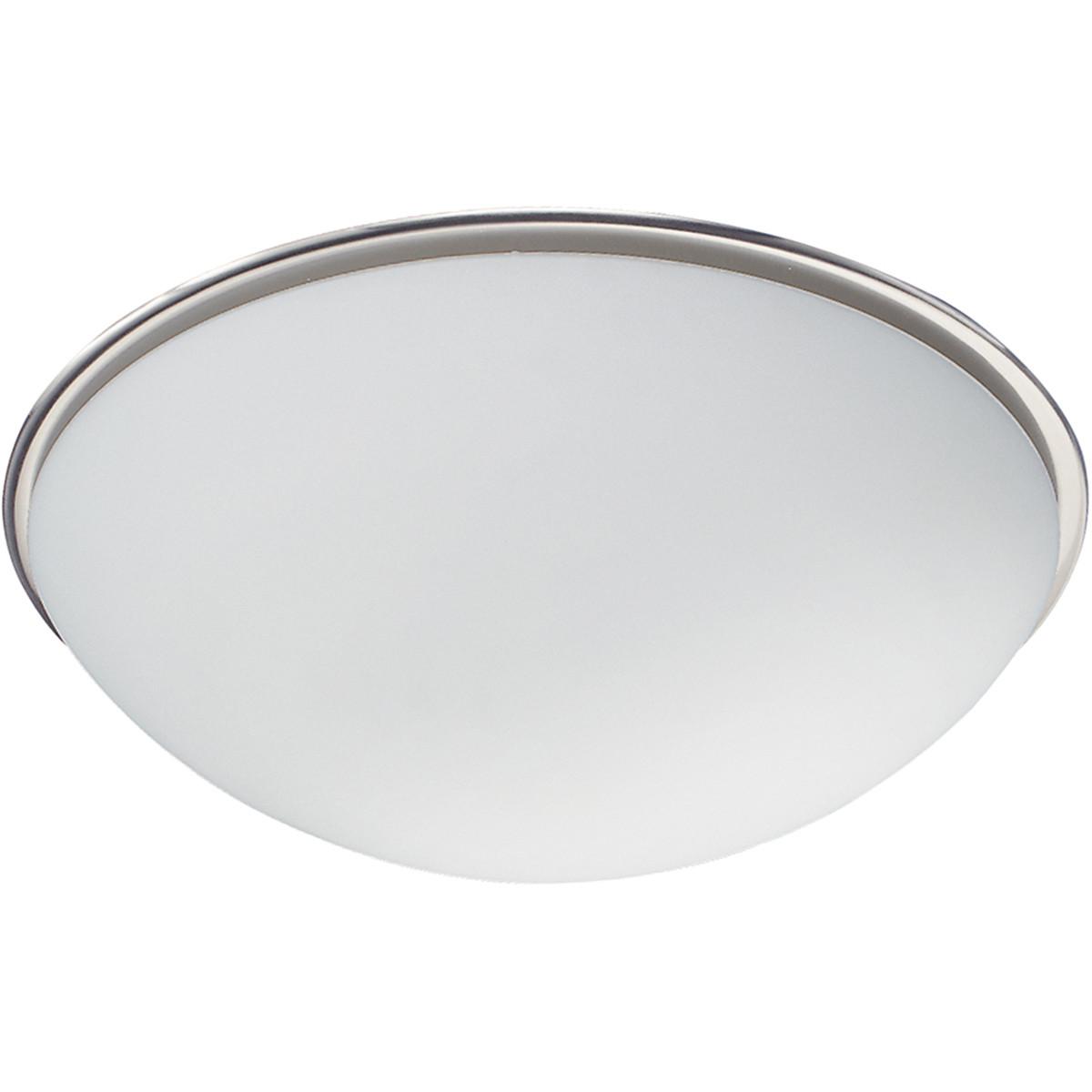 LED Plafondlamp - Plafondverlichting - Trion Balbo - E27 Fitting - 1-lichts - Rond - Mat Nikkel - Al