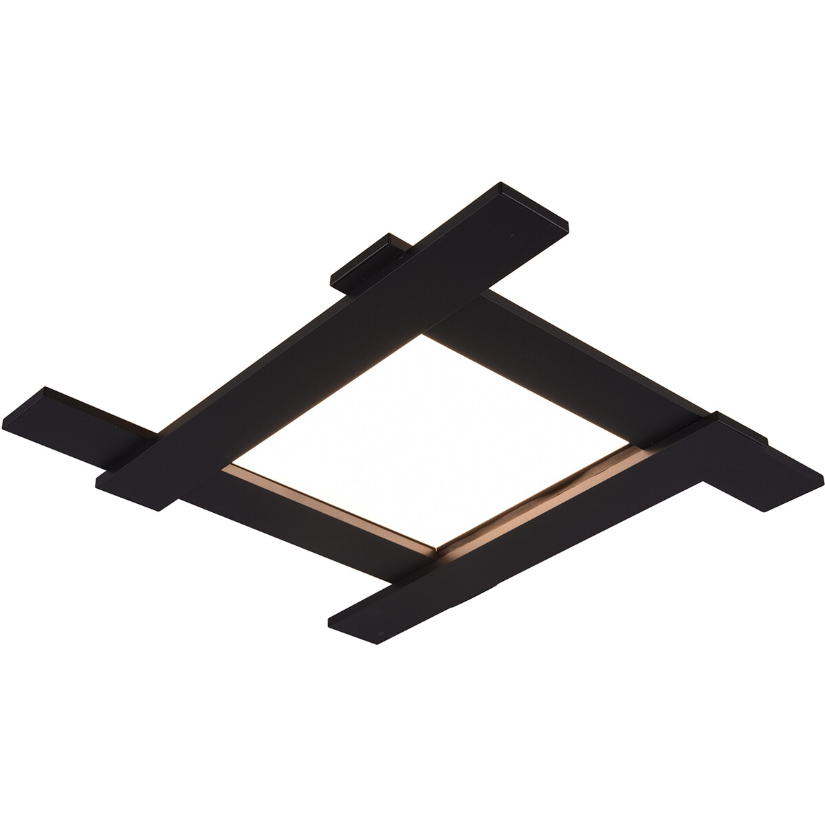 LED Plafondlamp - Plafondverlichting - Trion Balfy - 20W - Warm Wit 3000K - Vierkant - Mat Zwart - A