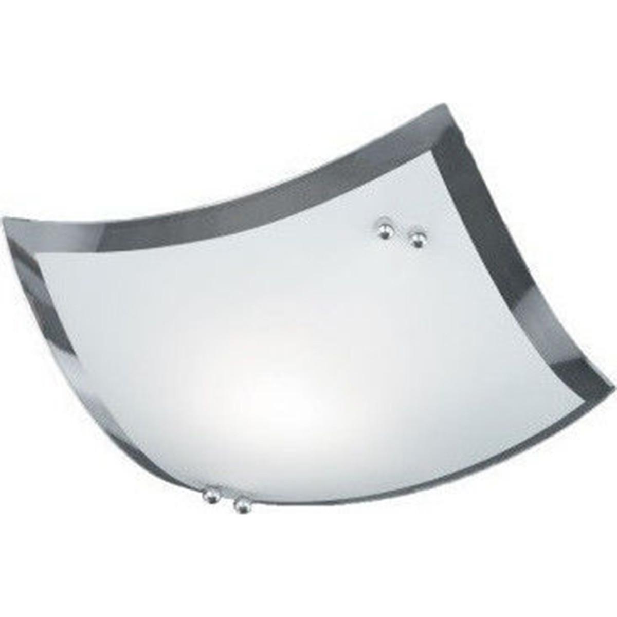 LED Plafondlamp - Plafondverlichting - Trion Bisu - E27 Fitting - Vierkant - Glans Chroom - Aluminiu